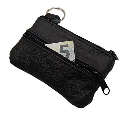 Echt Leder Schlüsseltasche 3 Fächer in Schwarz MJ-Design-Germany Made in EU