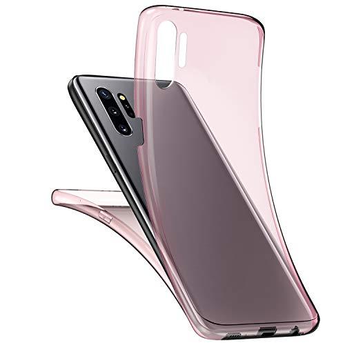 Herbests Kompatibel mit Samsung Galaxy Note 10 Plus Handyhülle 360 Grad Double Side Beidseitiger Cover Silikon Transparent Full Body Case Clear Doppel-Schutz Rundumschutz Durchsichtig Hülle,Rose Gold