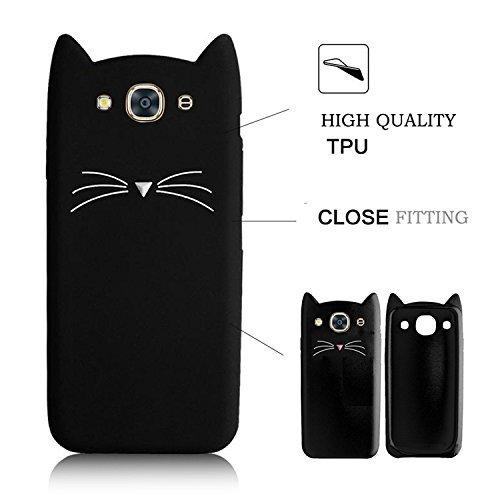 SevenPanda para Samsung J710 / Samsung Galaxy J7 2016 Funda, Protectora Funda Silicona 3D Gato Design Funda Protectora Linda Beard Gato TPU Funda - Negro