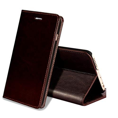 EATCYE iPhone 6S Plus Handyhülle,iPhone 6 Plus Hülle, [Echt Leder] Handyhülle Brieftasche flip Lederhülle Schutzhülle [Versteckt Magnet] Hülle für Apple iPhone 6S Plus/iPhone 6 Plus (Dunkelbraun)