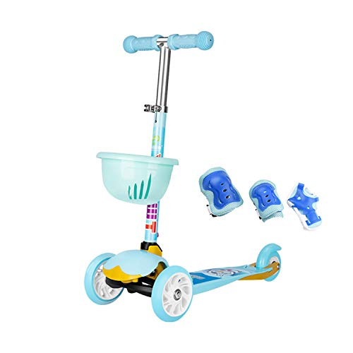 Find Bargain AIBAB Children Scooter Three-Wheeled Scooter Balance Car Three-Speed Lifting Adjustment Can Be Folded Flash Wheel 2-4 Years Old