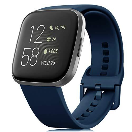 RIOROO Cinturino Compatibile per Fitbit Versa/Versa 2/Versa Lite/Blaze Cinturino, Cinturini in Silicone Morbido per Donna Uomo, Cinturino di Ricambio Blu Notte(Esclusi Gli Orologi),L
