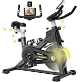 pooboo Magnetic Exercise Bike Indoor Cycling Bike Stationary, Adjustable Seat & Handlebar, Stationary bike with LCD Monitor & Large Device Holder, Smooth Quiet Home Workout (Black&yellow)