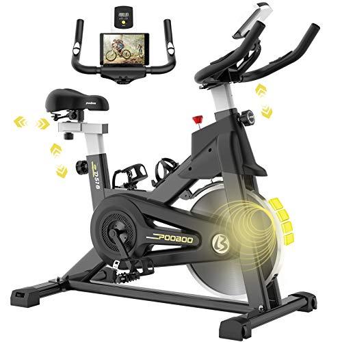 pooboo Magnetic Resistance Exercise Bike with LCD Monitor Flywheel Stationary Bike Adjustable Handlebar&Seat
