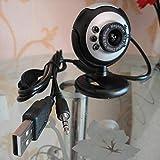 YOUKITTY USB 6 LED Camera de Vision Nocturne PC Webcam Reseau avec Microphone Pour MSN ICQ AIM Reunion Skype Net, Noir