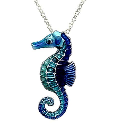 DianaL Boutique Large Beautiful Seahorse Pendant and Necklace with 21' Chain Gift Boxed Sea Horse Fashion Jewelry