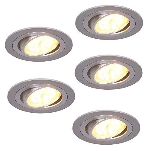 Spots Led Encastré Set Rond Luminaire Encastrable Aluminium 5W Pivotant 3 Compartiments Flux Lumière Modulable Plafond-Spot Universel Utilisable Lampes Encastrées Moderne Place de Couverture