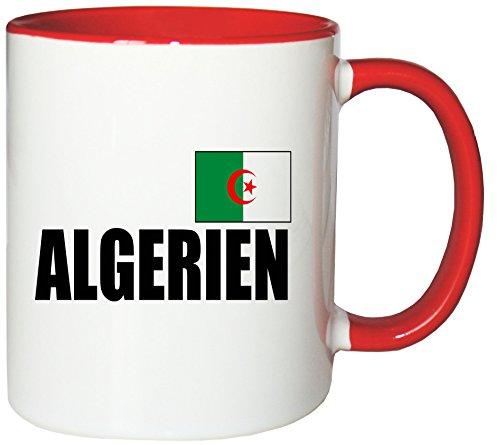 Mister Merchandise Kaffeetasse Algerien Fahne Flag Teetasse Becher, Farbe: Weiß-Rot