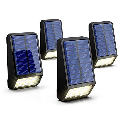 LOHAS Luci Esterno LED Solare, Led Lampada Solare da Parete Giorno Bianco 6000K IP65 Impermeabile 5V, Perfetto per Illuminazione Esterna, Giardino, 4 Pezzi