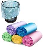 Ulife Mall 10 Litros bolsas de basura, 100 Piezas bolsa de basura pequeña, Impermeable, Resistente a roturas, Saco de Basura para Hogar Cocina Baño Oficina Coche - 5 Color, 20 piezas / rollo