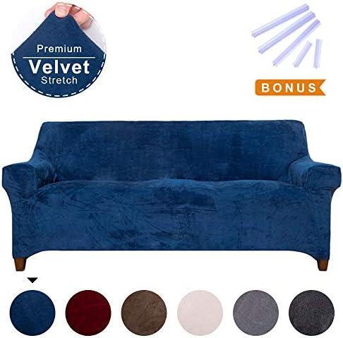 Best ACOMOPACK Premium Velvet Stretch Sofa Slipcovers, Spandex Navy Blue Sofa Cover with Velvet Plush Fab