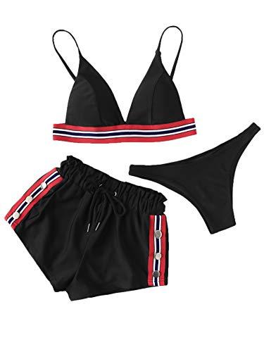 DIDK Damen Bikini Set mit Short 3 Piece Bademode Schwimwear Strandmode Swimsuit Schwarz mit Streifen S