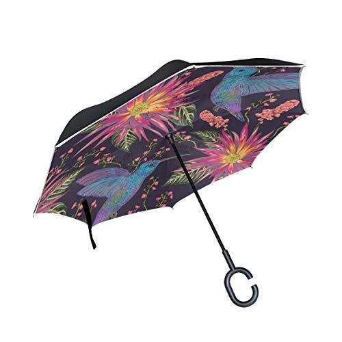 MAILIM Kolibri mit Blumen, umgekehrt, Winddicht, doppellagig, C-Griff, UV-Schutz für Auto, Damen, Herren