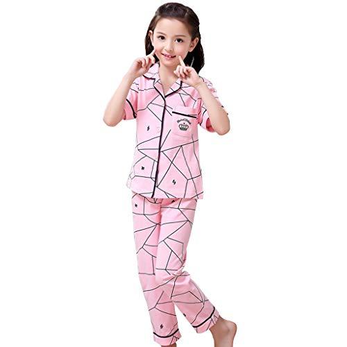 Nachthemden Mädchen Service Für Kinder Sommernachthemden Kinderpyjamas Kurzarm Für Mädchen Mädchennachthemden Anzug Für Eltern Kinder Baumwolle (Color : Pink, Size : 165cm)