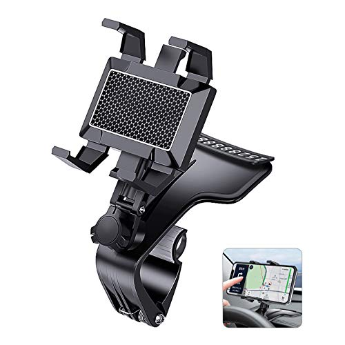 Car Phone Holder Mount,Universal Dashboard Cell Phone Holder Clip, Adjustable 1200 Degree Free Rotation Car Phone Mount,Upgrade Dashboard Cell Phone Clip for 4 to 7 inch Smartphones
