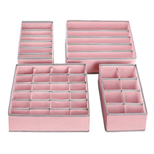 SONGMICS Aufbewahrungsboxen für Unterwäsche, Schubladen-Organizer, Ordnungssystem für Kleiderschrank, faltbar, für BHS, Unterwäsche, Socken, Krawatten, Faltbox, Stoffbox, 4er Set, rosa RUS04PK