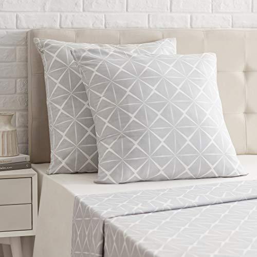 Amazon Basics Taie d'oreiller en satin - 65 x 65 cm x 2, Gris quartz