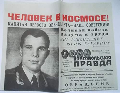 Periódico URSS Komsomol Pravda 13 de Abril de 1961 Gagarin cosmounaut re-Print