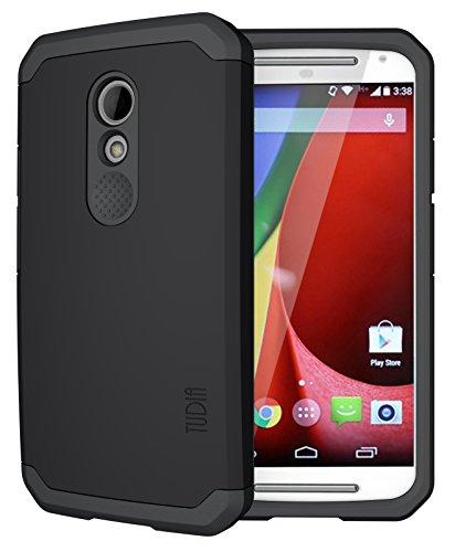 TUDIA CYGEN Dual Layer Schutzhülle Motorola Moto G Slim-Fit Hülle (2nd Gen 2014 Released ONLY) (Matte Black)