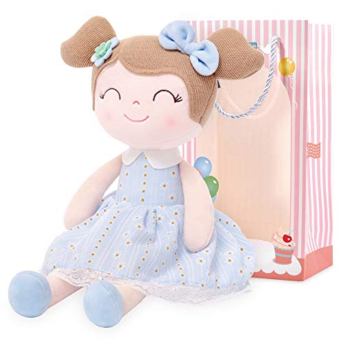 Gloveleya Baby Doll Girl Gifts Cloth Dolls Plush Toy Light Blue 16 Inches with Gift Box