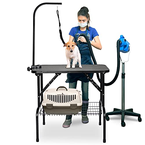 Nova Microdermabrasion 32 Inches Pet Dog Grooming Table Portable Drying Table Non-Slip Top w/Adjustable Arm, Mesh Tray for Small Dog and Cats
