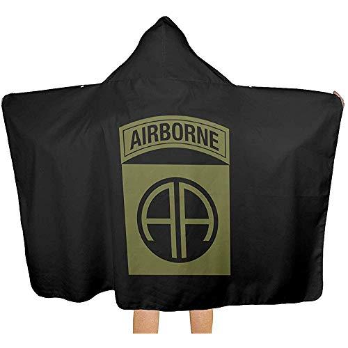 Moily Fayshow Army 82Nd Airborne Division Decke mit Kapuze, kuschelig warm tragbare Decken Neuheit Cape für Kinder Erwachsene 150 x 130 cm