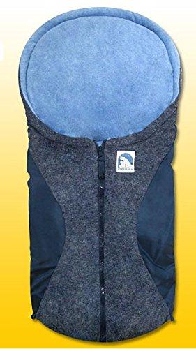 Eisbärchen - Kleiner Fußsack für Babys * außen marine-grau / innen hellblau