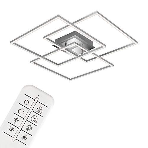 Briloner Leuchten - Lámpara de techo LED, plafón regulable, control de temperatura de color, función de luz nocturna, temporizador, 52 vatios, 4800 lúmenes, aluminio cromado, 703x703x100 mm, 3097-018