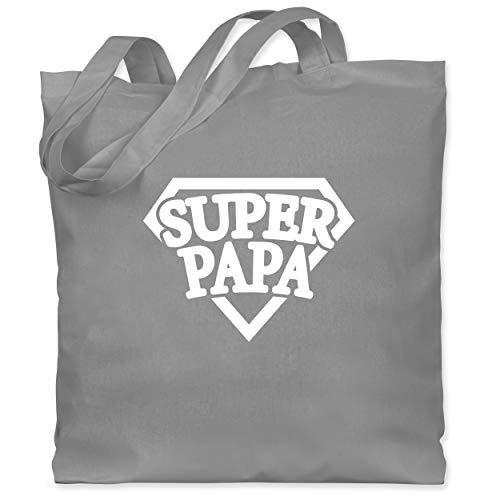 Shirtracer Vatertagsgeschenk - Super Papa - Superheld - Unisize - Hellgrau - Papa - WM101 - Stoffbeutel aus Baumwolle Jutebeutel lange Henkel