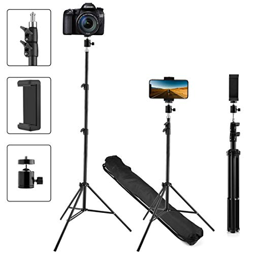 Upgraded Phone Tripod, Extend to 60 Inch Tripod with Cell Phone Holder and 360° Adjustable Ball Head Adapter, Works with Mobile Phones, Lightweight DSLRs, Digital Cameras and Action Cameras (60 inch)