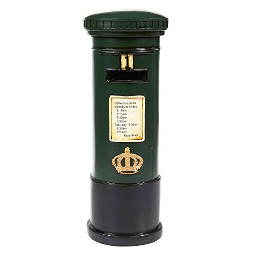 Juvale Piggy Bank Money Box British English Style - Polyresin Vintage Street Post Box DecorMoney Bank Storage Pot, Green