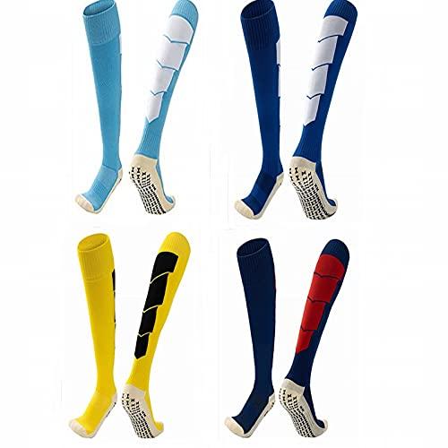 ZJKJ Calcetines De Fútbol para Hombre Calcetines De Fútbol por Encima De La Rodilla Antideslizantes Calcetines Deportivas Profesionales Calcetines De Toalla para Hombre(4 Pares)