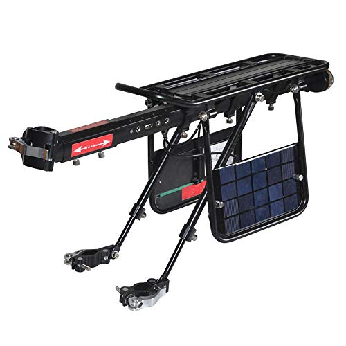 Read About JKGLD Rear Bike Rack Bicycle Racks Solar Charge Built-in USB Interface Cycling Rear Seat ...