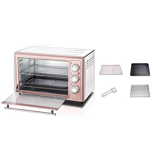 Huishoudelijke Elektrische Oven, 3-Lagen 30L Grote Capaciteit Multifunctionele Mini Enige Roze Roaster Kitchen Baking Toestellen Voor Pizza Tart Brood Cake, Geschikt Voor 1-3 Personen Family