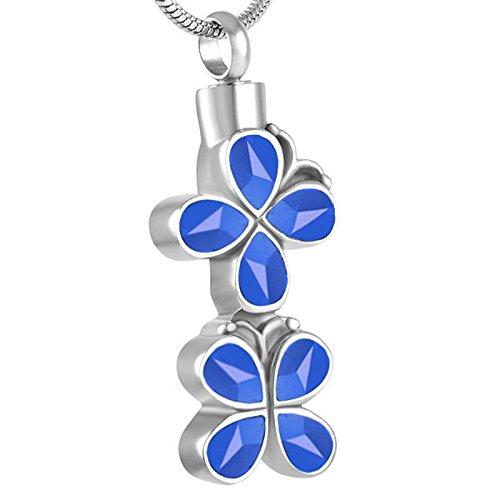 TIANZXS Collar con Colgante de urna de cremación de Flores Multicolores, Perros, Gatos, Ceniza Conmemorativa, ataúd, encantos, Azul