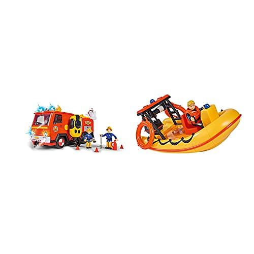 Simba 109251085 Feuerwehrmann Sam Ultimate Jupiter, Feuerwehrauto mit 2 Figuren, Licht und Sound & 109251047 - Feuerwehrmann Sam Neptune Boot, mit Penny Figur im Tauchoutfit, 20cm