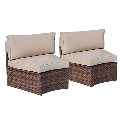 SUNSITT Outdoor 2-Piece Half-Moon Sectional Woven Sectional Set with Beige Cushions