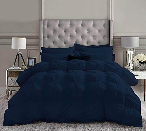 Best Bedding 5 Piece Pinch Pleated Comforter Set Premium 800 Thread Count 100% Egyptian Cotton Super Soft (King/California King Size Navy Color)