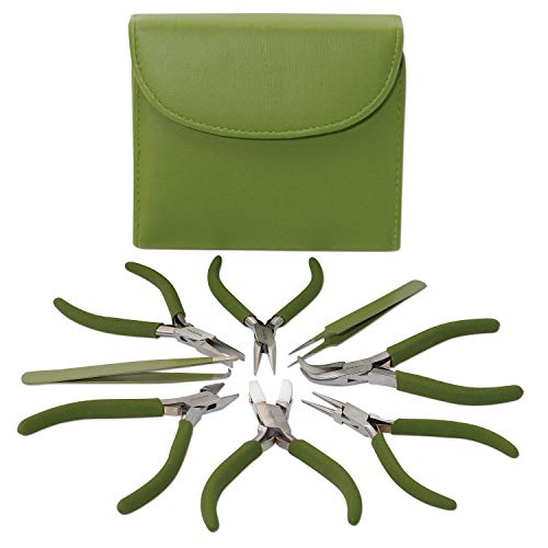 Fashion Color Plier Set and Clutch, 8-Piece Beader's Tool Kit (Olive)