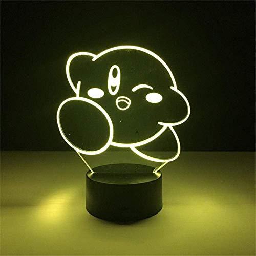 Luz de ilusión 3d luz de noche led animal lindo kirby bebé niños niños usb cambio de color dormitorio lámpara de mesa mejor regalo de vacaciones de cumpleaños para niños