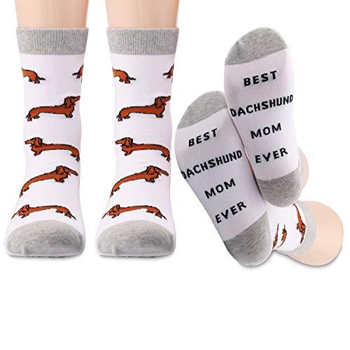 Dackel Socken Beste 2 Paar Beste Dackel Mama Ever Crew Socken Hundebesitzer Geschenke Dackel Liebhaber Geschenke für Frauen (Dackel Mama)