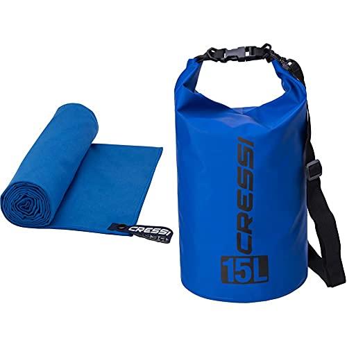 Cressi Microfibre Fast Drying Beach Toalla De Sport Y De Playa, Unisex Adulto, Azul, 160 X 80 Cm + Dry Bag Mochila Impermeable para Actividades Deportivas, Unisex Adulto, Azul Oscuro, 15 L