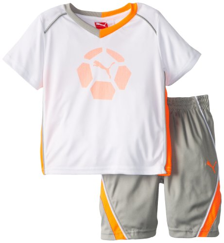 PUMA Little Boys' Toddler Team Perf Set, White, 3T