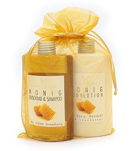 Geschenkset Honig von Haslinger mit Duschbad & Shampoo und Bodylotion im Organzabeutel