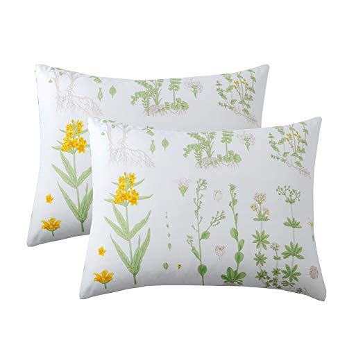 Menae Pack of 2 Floral Pillow Cases-Green with Yellow Botanical Flowers Bed Pillowcases Set with Envelope Closure End -(Standard 20x26 Inches,Floral)