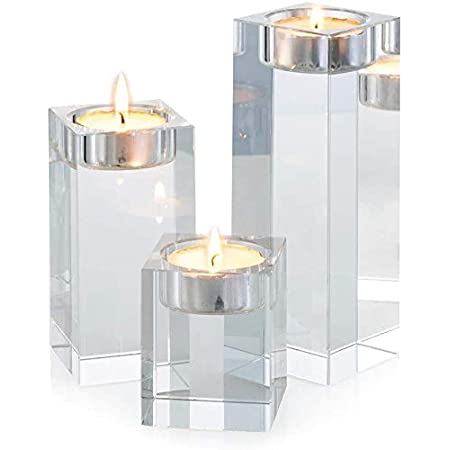 Beautiful Set of Three Pieces Clear Crystal-Like Candlestick Holders So Pretty!