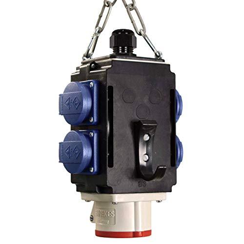 as - Schwabe MIXO Energiewürfel II – Hänge-Verteiler mit 4 Schuko-Steckdosen 230 V, 16 A & 1 CEE-Steckdose 400 V, 16 A, 5-polig für bessere Energieversorgung – IP44 – Made in EU – Schwarz I 60733