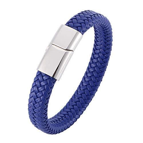NJIANGHUA Pulsera de Cuero para Hombre Pulseras de Cuero Trenzado Azul para Hombre Pulsera de Brazalete de Hombre con Cierre Magnético de Acero Inoxidable