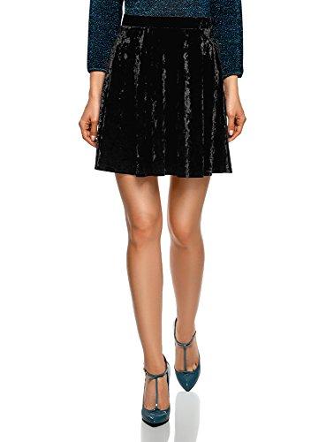 oodji Ultra Mujer Falda de Terciopelo con Pliegues Suaves, Negro, ES 42 / L