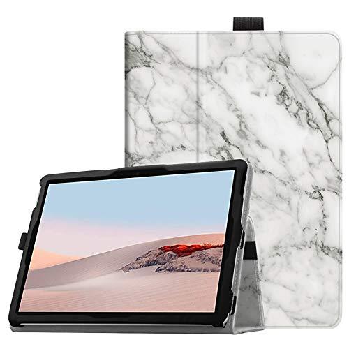 Fintie Schutzhülle für Microsoft Surface Go 2 (2020) / Surface Go (2018) 10 Zoll Tablet – Premium veganes Leder Folio Stand Cover mit Stylus Halter, kompatibel mit Type Cover Tastatur (Z-Marmor)